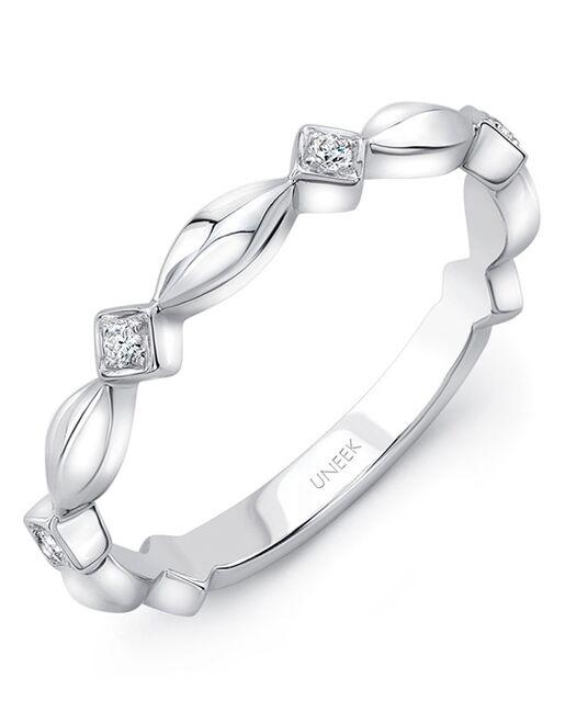 "Uneek Fine Jewelry Uneek ""Gower"" Stackable Wedding Band, 14K White Gold - LVBWA781W White Gold Wedding Ring"