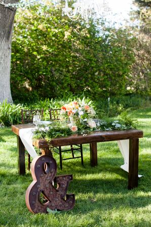 Sweetheart Table With Wooden Ampersand Sign