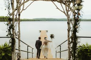Casual Couple on Dock at Watervale Inn in Arcadia, Michigan