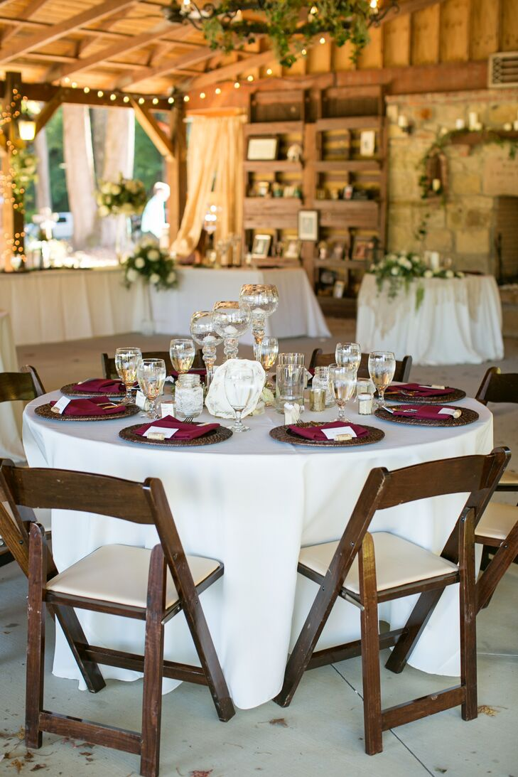 Burgundy and Brown Reception Decor