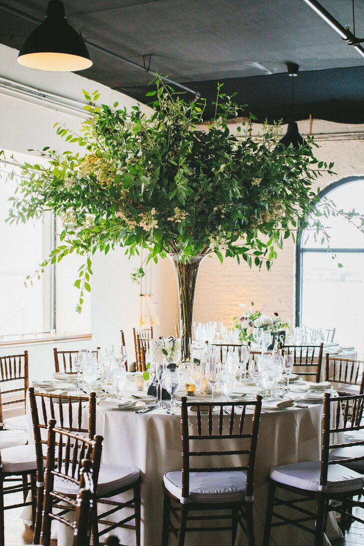 Tall Centerpiece with Greenery, Leaves and Branches