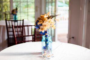 DIY Burlap Flower Bouquet with Blue Ribbon
