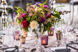 Purple Wildflower and Rose Centerpieces