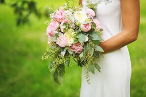 Pink Garden Rose and Eucalyptus Bouquet