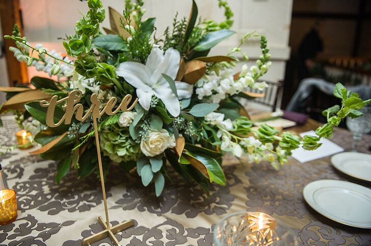 Small Green And White Rose And Lily Centerpiece With Gold
