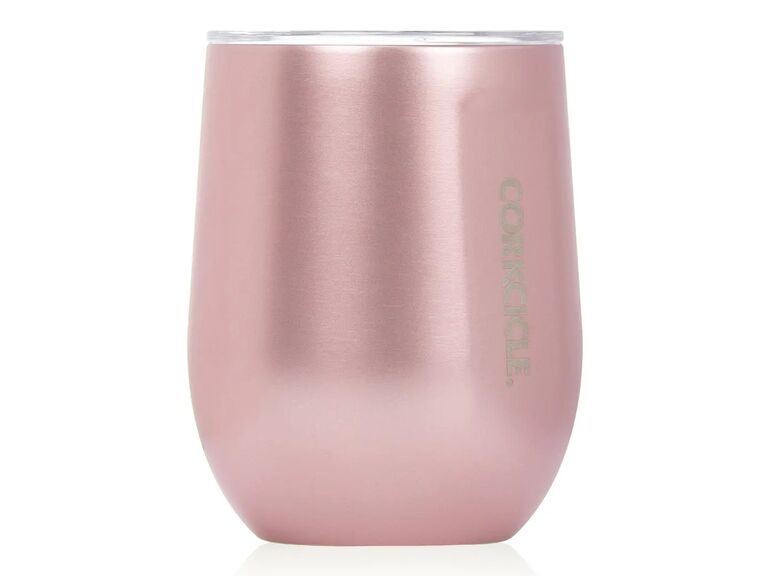 Rose gold stainless steel wine glass