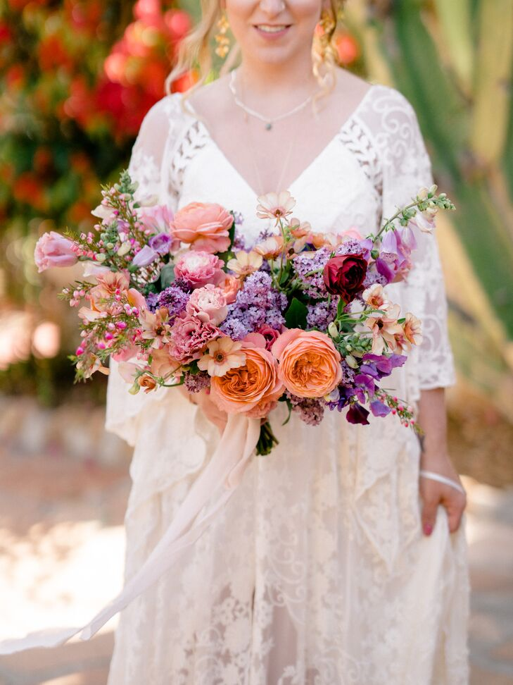 Textured Coral and Lavender Mixed-Floral Bouquet