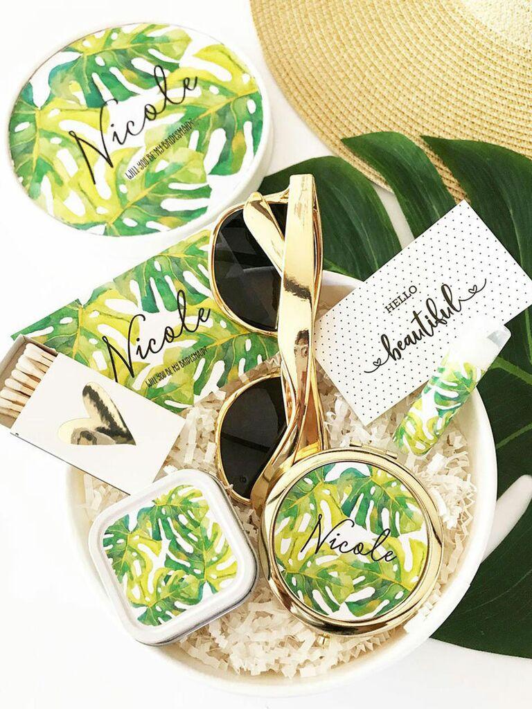 bridesmaid proposal box with tropical design