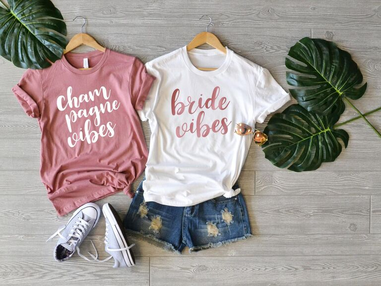 """""""bride vibes"""" and """"champagne vibes"""" bachelorette party shirts"""