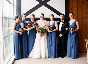 Long Blue Bridesmaid Dresses with Complementary Fall Bouquets