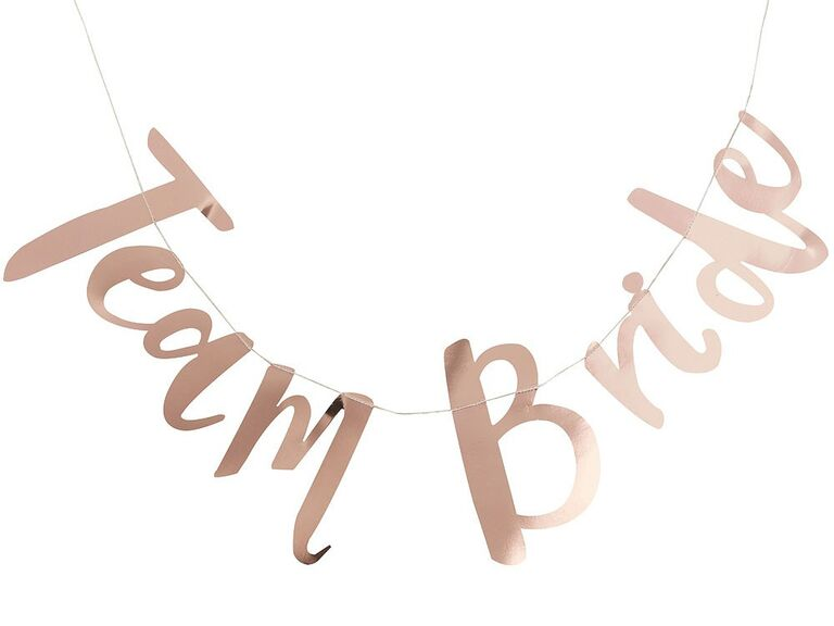The Knot Shop team bride metallic rose gold banner,
