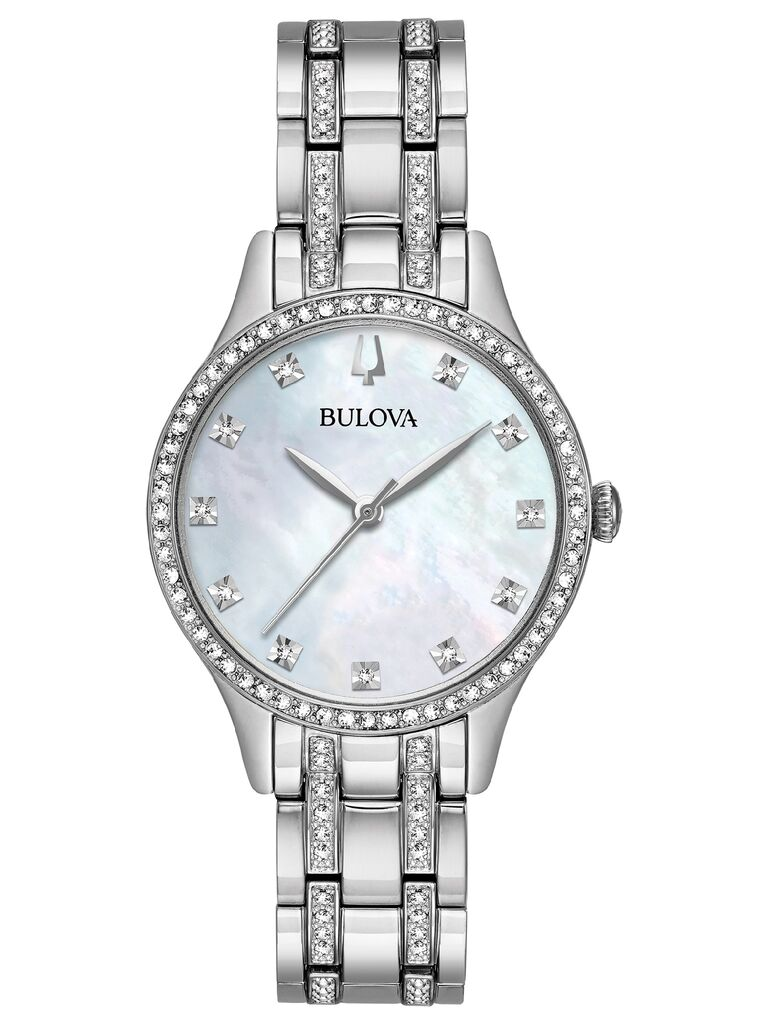 Sparkly crystal-studded 15th anniversary watch with mother-of-pearl dial