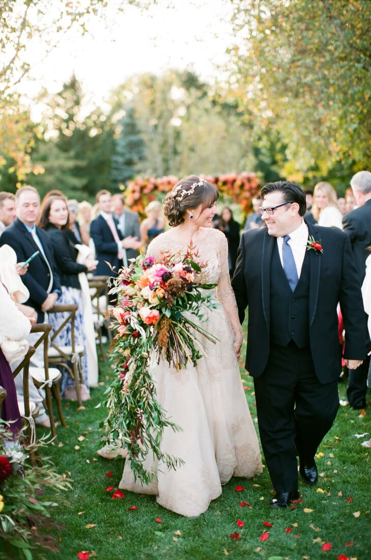 """Three months after they got engaged, Kristen and Andy wed in her parents' backyard. """"My dad was diagnosed with a brain tumor, so we put aside any prec"""