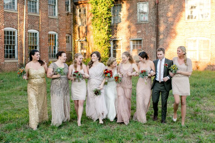"""""""I spent a day shopping with each bridesmaid, and every one of these incredible women found a beautiful neutral, gold or rose-gold beaded dress to go along with the vintage look,"""" Maggie says. Maggie's cousin Tim was also one of her attendants, sporting a suit that complemented the palette."""