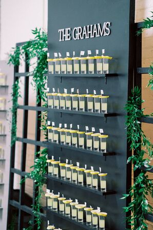 Modern Limoncello Shot Glass Wall with Greenery
