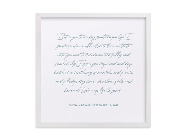 Framed vow art print third anniversary gift idea