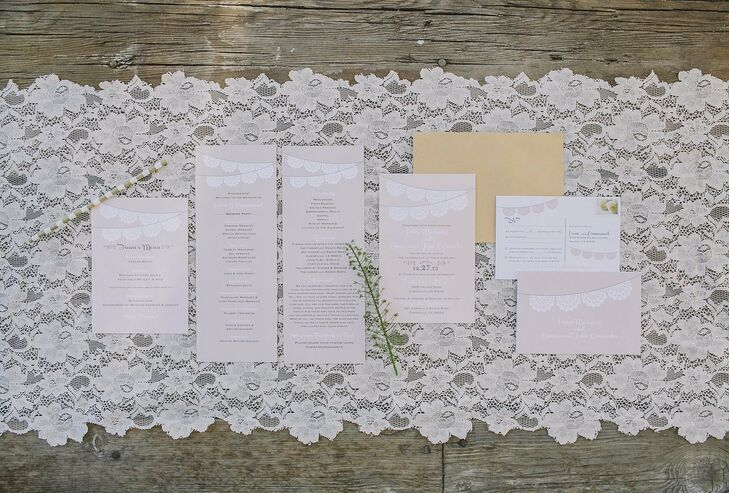 The couple chose a neutral colored invitation suite with a papel picado motif running across the top.