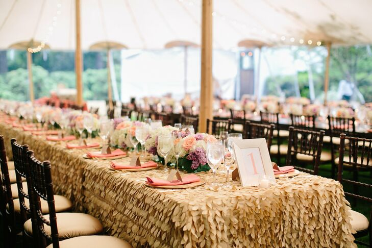 The decor on the dinner tables was simple but beautiful: Arrangements of hydrangea, roses and lilac lined the center of the table, while gold-framed numbers told guests where to sit.