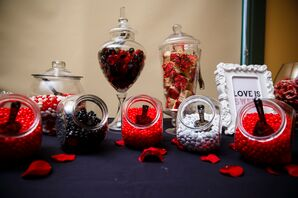 Red, Black and White Candy Dessert Table