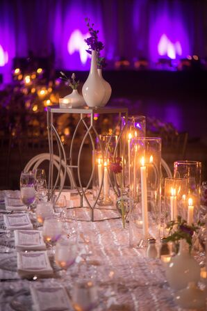 Elevated White Vase and Taper Candle Centerpieces