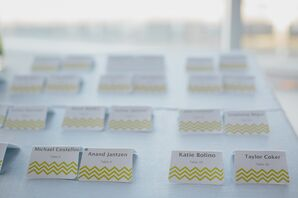 Modern Yellow Chevron Escort Cards