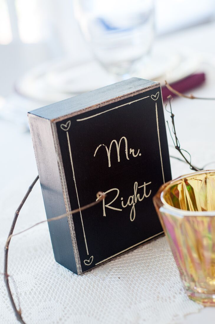 "The groom and bride's seats were marked with signs labeled ""Mr. Right"" and ""Mrs. Always Right."""