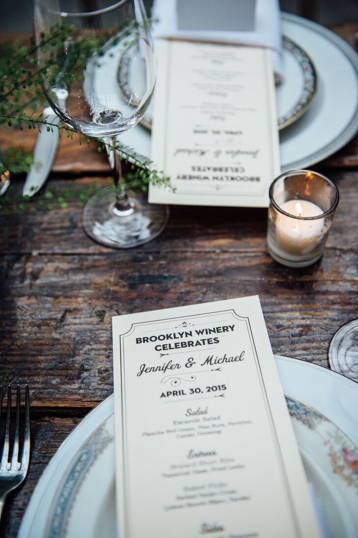 To tie in with the reception's intimate feel, Jennifer and Michael served dinner family style. Working with the team at Brooklyn Winery, they devised a mouthwatering menu of escarole salad, braised short ribs, baked fluke, crisp brussels sprouts and root-vegetable gratin. After the meal, guests were treated to a sampling of dessert bites as well as a slice of peanut butter and jelly cake.