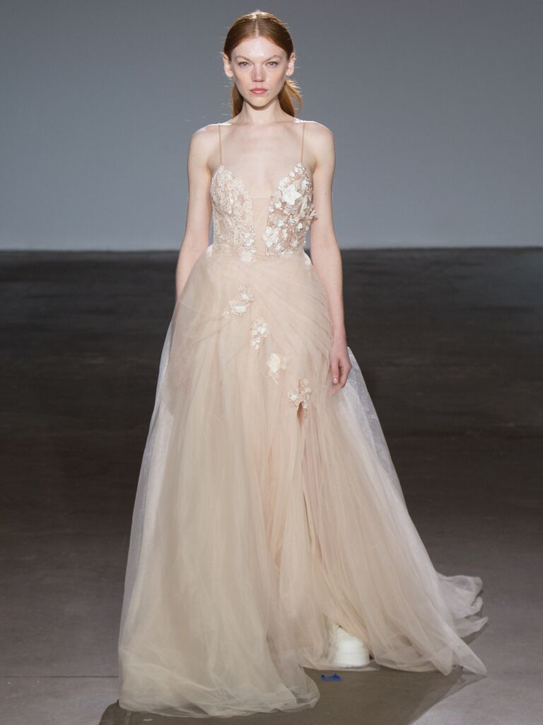 Adam Zohar Spring 2019 Collection nude tulle ball gown with spaghetti straps and appliqué