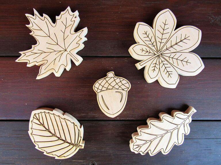 leaf magnets fall wedding favors
