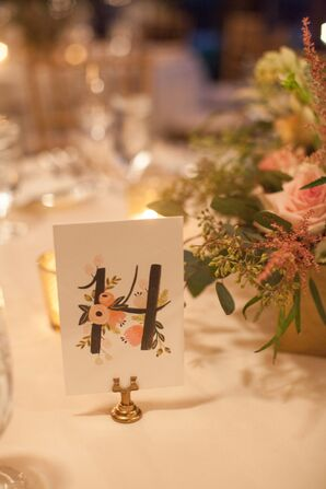 Simple Floral Table Number Cards