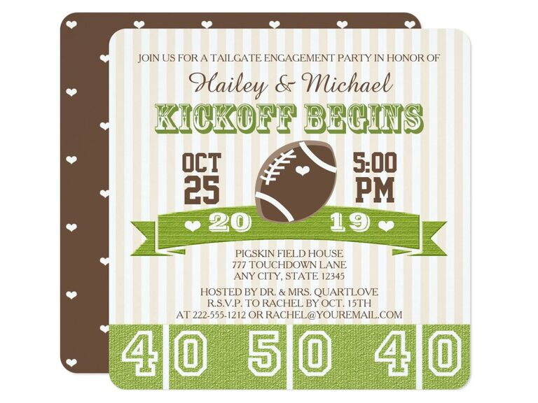 Tailgate-themed engagement party invitation
