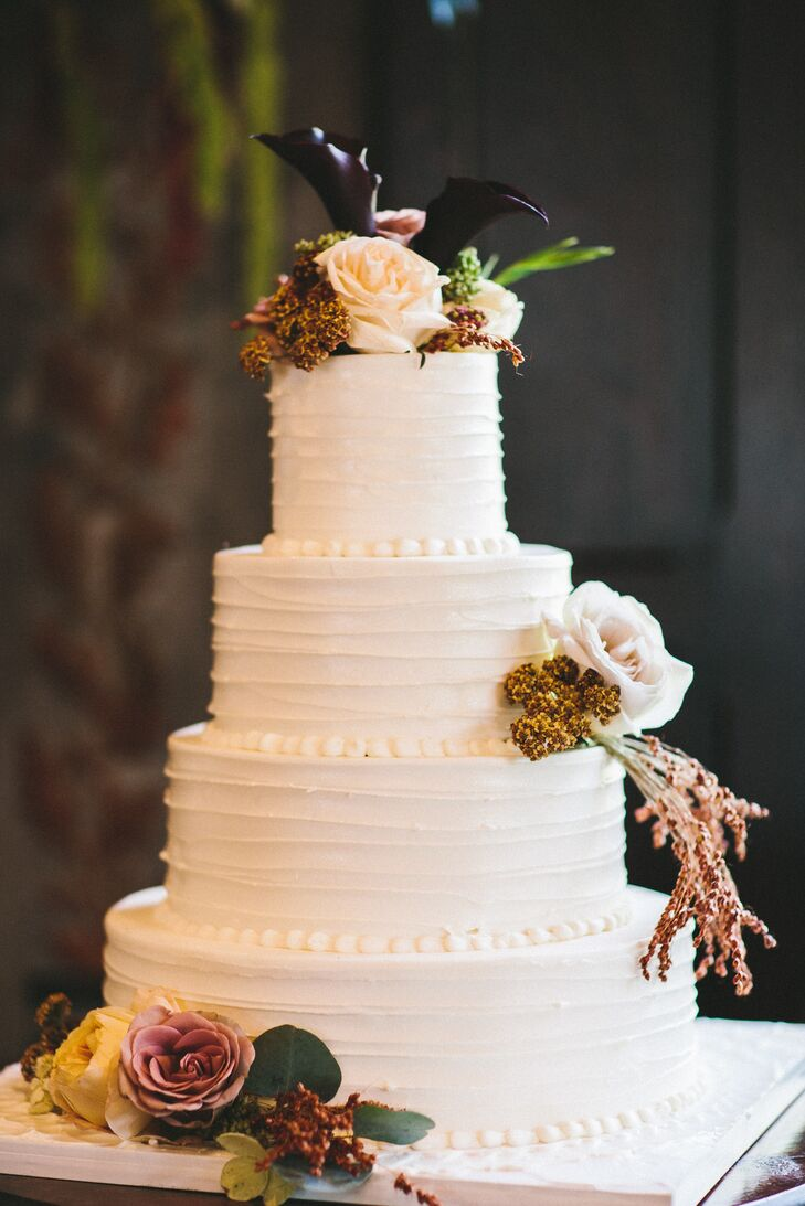 Classic Buttercream Cake with Wildflowers and Cala Lilies