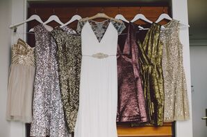 Metallic Bridesmaids Dresses in New York Wedding