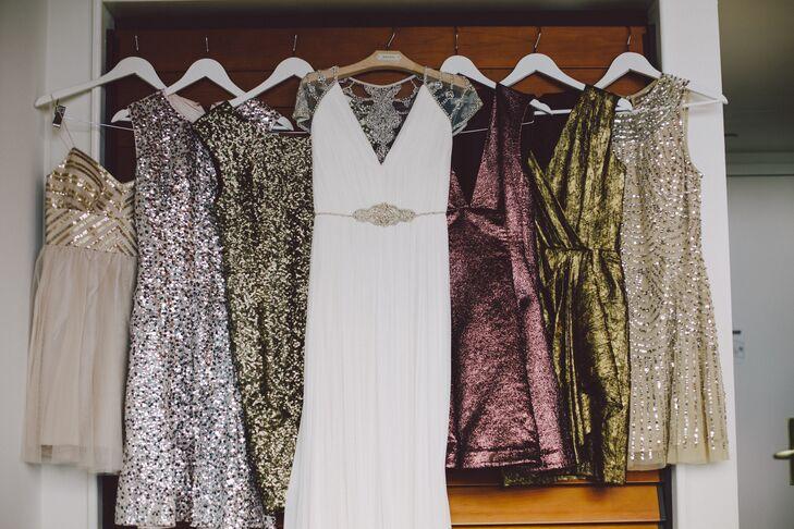 Metallic Bridesmaids Dresses in New York Wedding