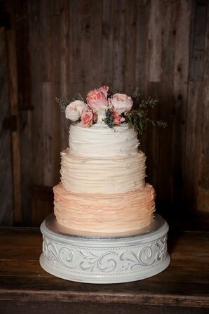 Tricolor Ruffled Wedding Cake With Garden Roses