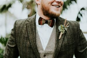 Bohemian Groom with Feather Bow Tie