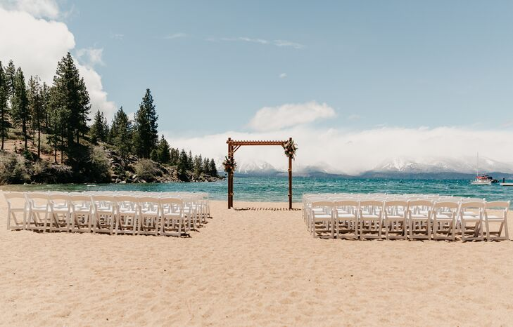 Wedding Arch and Folding Chairs at Round Hill Pines Beach in Zephyr Cove, Nevada