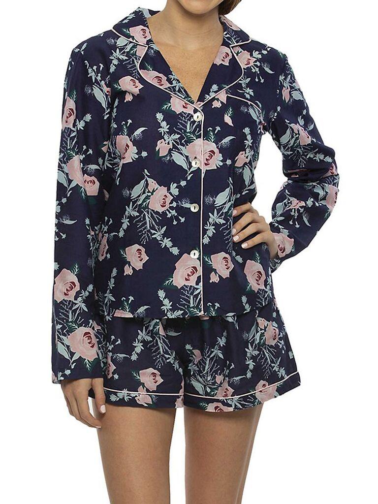 Floral long-sleeve bridesmaid pajama set