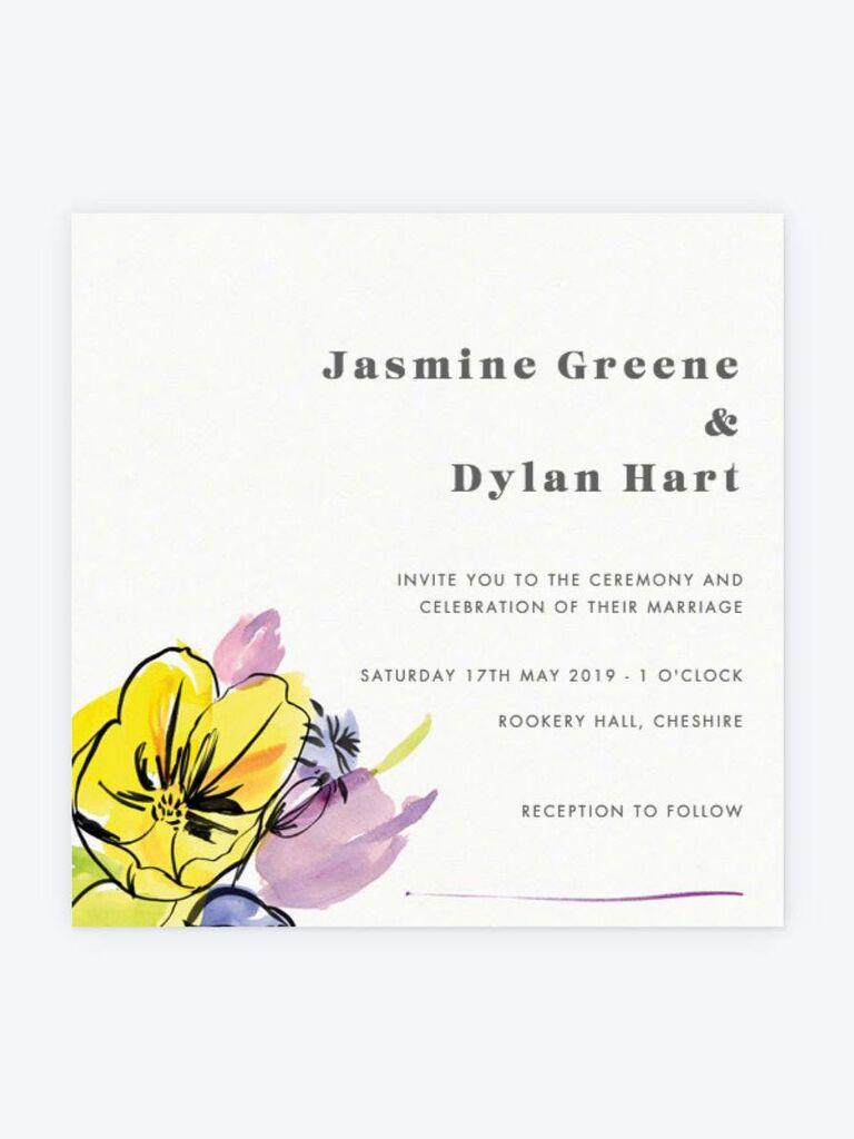 Papier spring wedding invitation with bright flowers