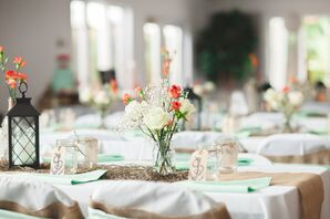 Flower Arrangements of Roses and Carnations for Nautical Wedding