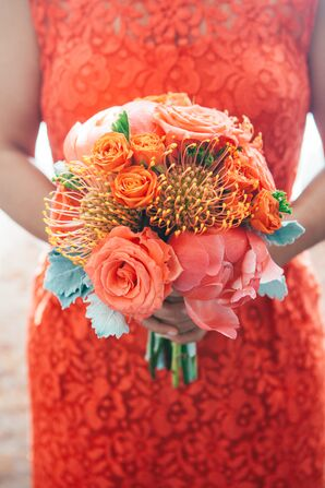 Coral Pincushion, Rose and Peony Bouquet