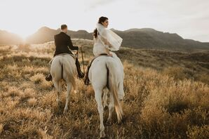 Bride and Groom Riding Horses During Sunset in West Texas