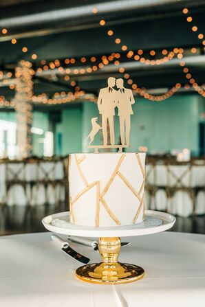 Same-Sex Gold Cake Topper with Dog