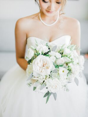 White Garden Rose and Eucalyptus Bouquet