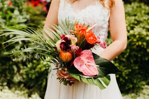 Tropical Bouquet with Anthurium, Protea and Palm Leaves