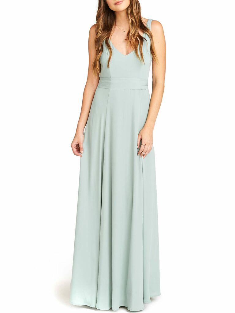 Mint V-neck Show Me Your Mumu spring bridesmaid dress