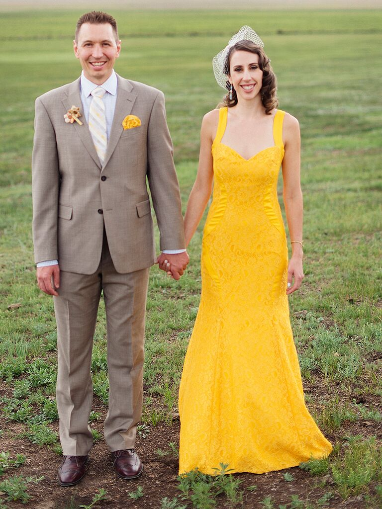 Bright yellow wedding gown by Monique Lhuillier