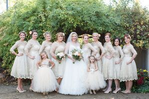 Vintage-Inspired Champagne Lace Bridesmaid Dresses