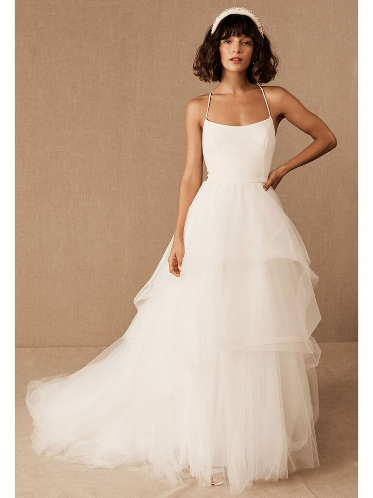 BHLDN dress with tiered tulle skirt