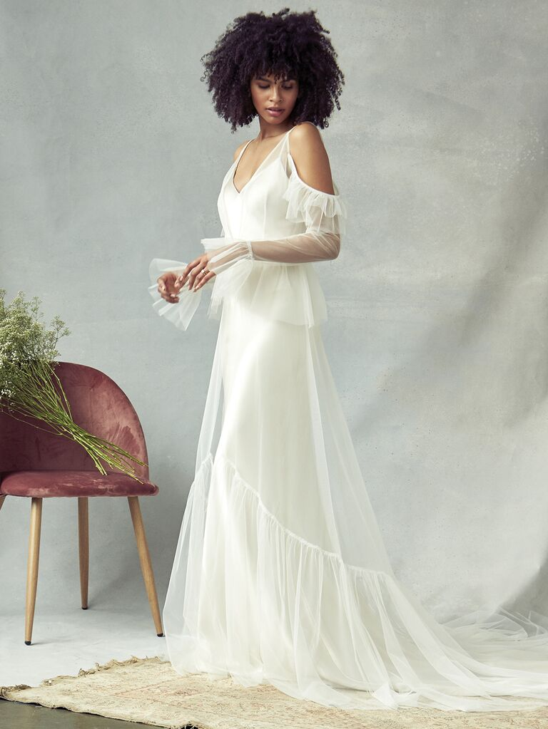 Savannah Miller Spring 2020 Bridal Collection tulle wedding dress with ruffled sleeves and shoulder cutouts